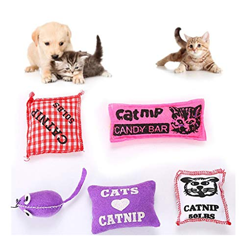Amaping Pet Cat Sachet Toy Resistant to Catch Bite Catnip Sachet (Red for cat candy bar)