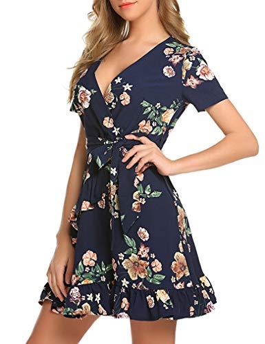 (Locryz Women's Sexy V-Neck Floral Print Ruffle Short Sleeve Asymmetric Party Short Mini Dress (XL, Blue))