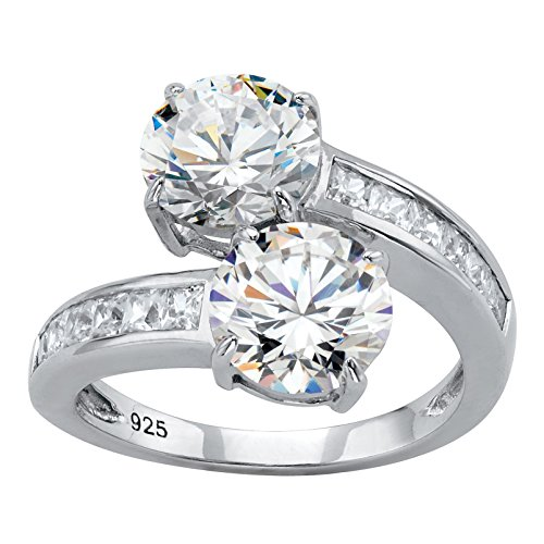 Sterling Silver Round and Baguette Cubic Zirconia 2-Stone Channel Bypass Ring Size 7 (Ring Bypass Two Stone)