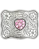 M & F Western Girls' And Crystal Heart Belt Buckle Silver One Size