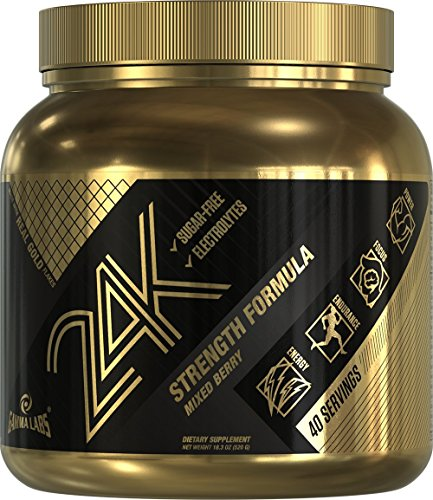 Gamma Labs 24K Premium Pre-Workout Supplement with Nitric Oxide, Creatine and Gold Flakes | Enhanced Blood Flow and Oxygen| Explosive Energy and Focus | 40 Servings