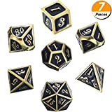 WarmShine 7pcs/Set Metal Polyhedral Dices Set, Party Gaming Accessories Math Teaching (Gold and Black)