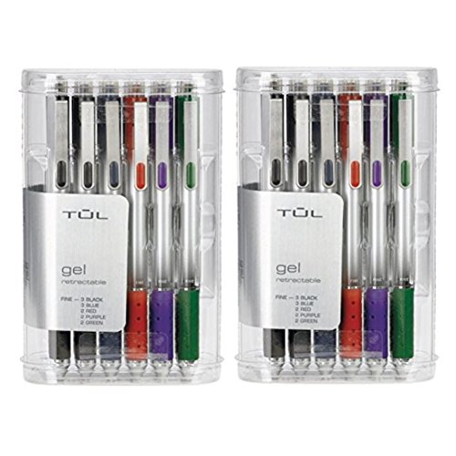 TUL Retractable Gel Pens 0.5 mm Fine Point, Assorted (2 12-packs)