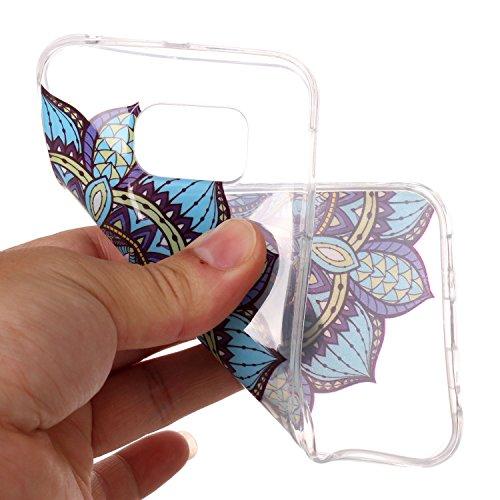 mokyo Samsung Galaxy S6Edge Funda Suave, transparente Gel TPU Funda de silicona con [libre Stylus Lápiz] antigolpes antiarañazos Teléfono de buzón Super fina goma Rubber Carcasa Transparente jalea pi azul flores