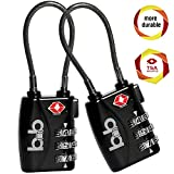 Small Combination Padlock Set - Travel TSA Lock Set - Cable Luggage Lock for Bag, Suitcase, Backpack - Pack of 2