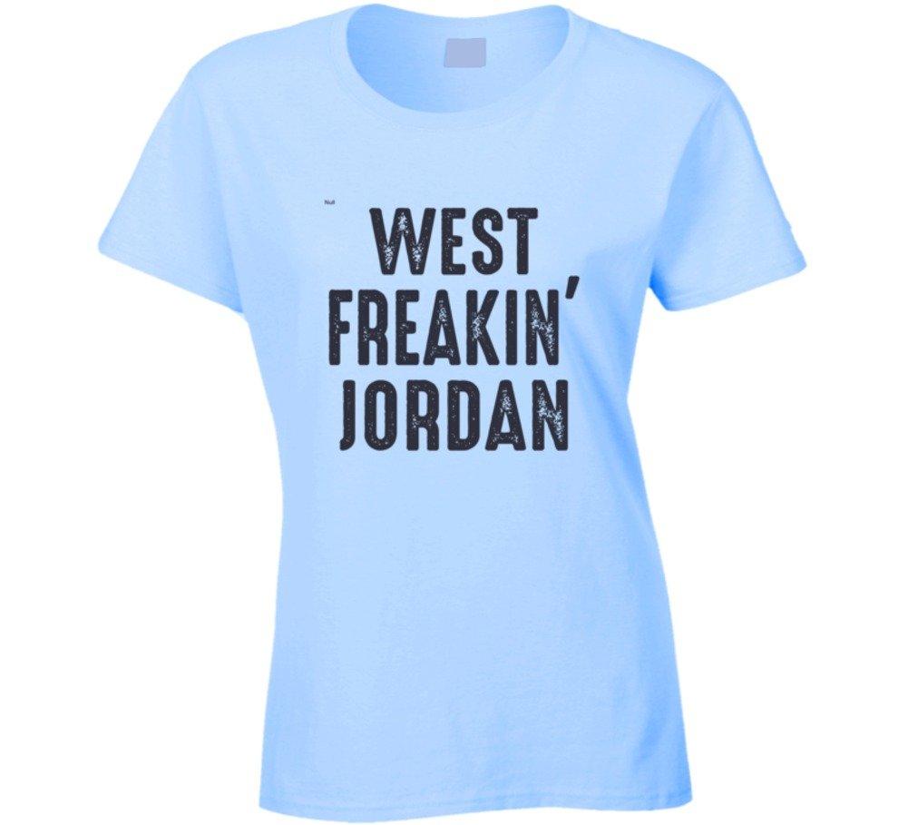 West Freakin' Jordan Funny Worn Look Cool Ladies T Shirt S Light Blue by Mad Bro Tees