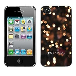 TopCaseStore / la caja del caucho duro de la cubierta de protección de la piel - Lights Winter Night Yellow Bright - Apple iPhone 4 / 4S
