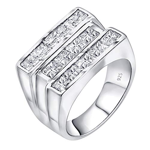 - Men's Sterling Silver .925 Triple Row Ring Featuring Fancy White Invisible Channel Set Cubic Zirconia (CZ) Stones, Platinum Plated Jewelry (6)