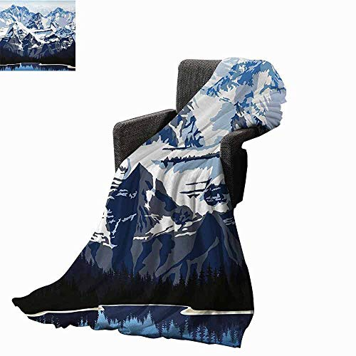 Scenery Weighted Blanket Adult,Cartoon Like Mountain with Snow Landscape with Lake Reflection Art Soft Fuzzy Cozy Lightweight Blankets (60