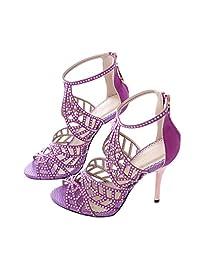 Women's Sparkle Crystal Cutouts Stiletto Back Zipper High Heels Party Dress Sandals