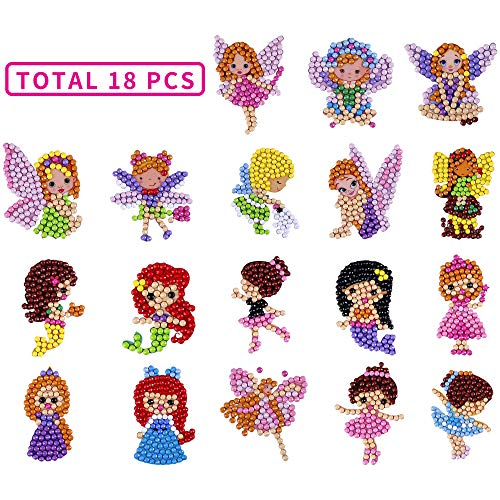 5D DIY 18PCS Diamond Painting Kits for Kids Stickers and Princesses Dance Girls Fairies
