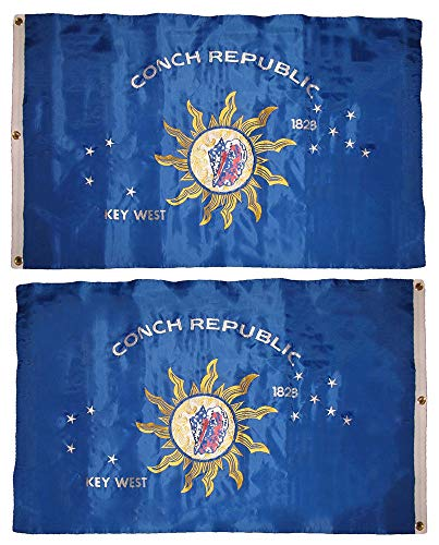 ALBATROS 3 ft x 5 ft Embroidered Key West Conch Republic Double Sided Nylon Flag Pin Clips for Home and Parades, Official Party, All Weather Indoors ()