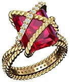 GEMPARA Designer Inspired 18K Yellow Gold Plated Cable Wrap Ring with AAAA Created Ruby