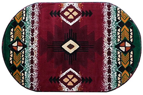 (Champion Rugs Southwest Native American Indian Burgundy Red With Green Carpet Area Rug (3 Feet X 5 Feet Oval))