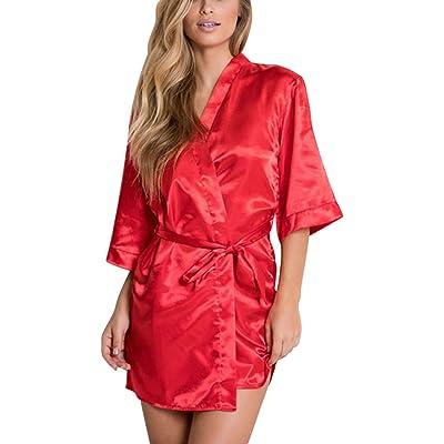 Bata para Mujer, Mujeres Sexy Satinado Sleepwear Lencería Nightwear Ropa Interior Vestido De Noche Robe Profundo Color sólido Camisón Satén Kimono Pavo Real Albornoces: Ropa y accesorios
