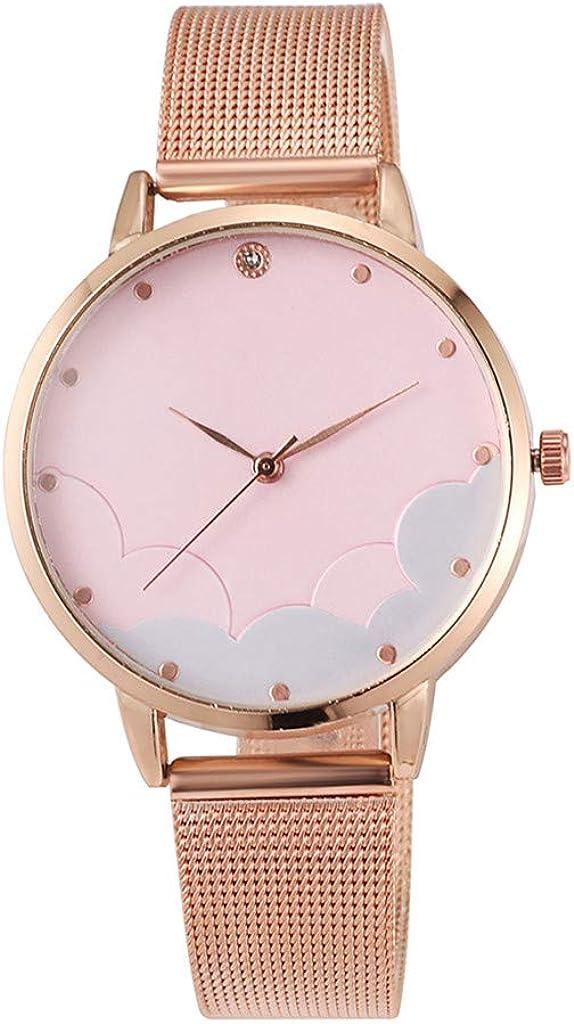 Sunnywill Relojes Mujer Elegante Relojes para Mujeres Clásica Moda Simple Casual Romentic Reloj Nube Dial Malla Cinturón De Damas Relojes Unisex