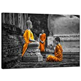 Sea Charm Modern Canvas Art Wall Decor Novices Monk Vipassana Meditation at front of Buddha Wall Art Painting Giclee Print Stretched and Framed Ready to Hang Home Salon Zen Yoga Room Decoration