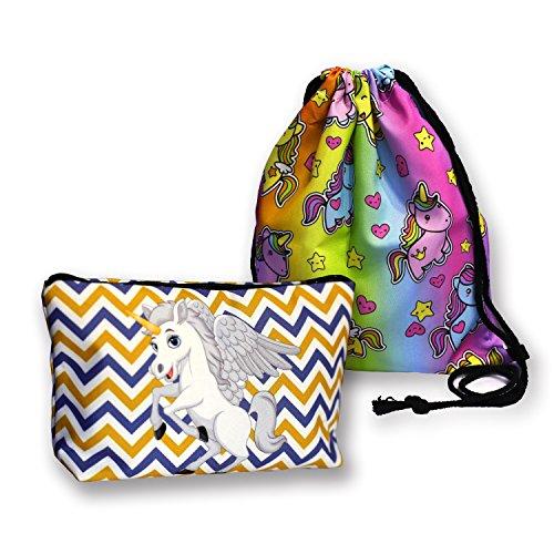 0dffafe6d4 Makeup Bags NANJA Fantasy 3D Printing women Unicorn Cosmetic Bags + 1pcs  Unicorn Drawstring Backpack (
