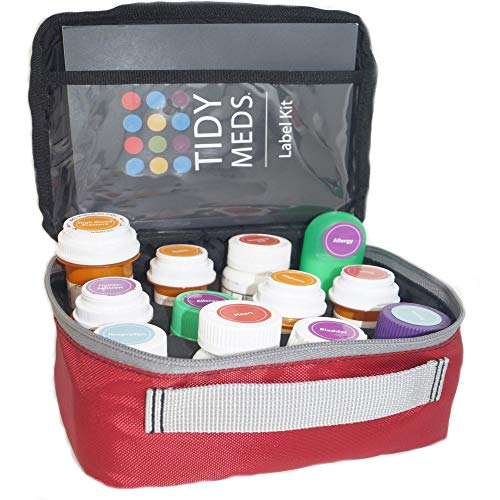 Pill Case -Label Your Prescription Bottles by Type of Condition. Over 250 Labels Included with Tidy Meds 2 Pill Case. Fits Most Bottles.