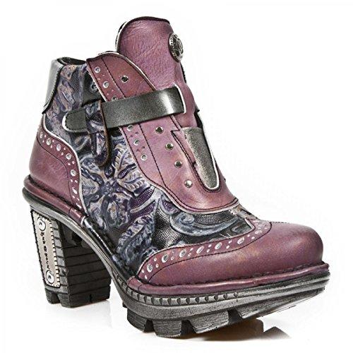 New Rock Laarzen M.neotr003-c8 Gothic Hardrock Punk Damen Stiefelette Staalkleurige