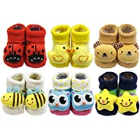 Wrapables Boys' 3D Cartoon Anti-Skid Baby Booties Sock Slippers (Set of 6)
