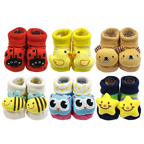 Wrapables Cute 3D Cartoon Anti-Skid Baby Booties Sock Slipper Shoes (Set of (Animal Booties)