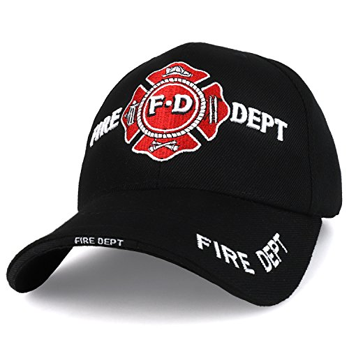Trendy Apparel Shop Fire Department Solid Color 3D Embroidered Firefighter Baseball Cap - - Shop Mens