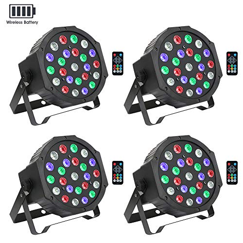 Stage Lights Package Wireless Battery Version, OPPSK 24W 24LED RGBW Par Lights Battery Power 4 Pack 8-15Hours Playing Remote DMX Control for Wedding Church Live Show DJ Stage Lighting Party - 4 Pack (Par Pack)
