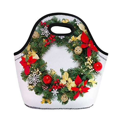 Semtomn Lunch Tote Bag Green Decorated Christmas Wreath White Advent Balls Branch Classic Reusable Neoprene Insulated Thermal Outdoor Picnic Lunchbox for Men Women