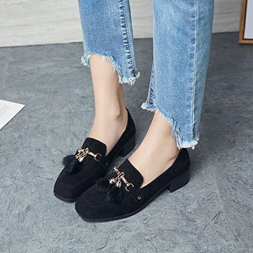 mujer Pa Kyle retro Zapatos diseño cuadrada de Negro tacón Walsh punta para n55aq8WYg