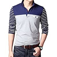 New Men's Fashion T-shirt Cotton Striped Long-sleeved Polo Shirt