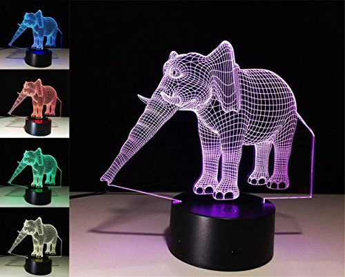 W-ONLY YOU-J Small Elephant 3D Lights Colorful LED Lights Creative Products Small Night Light Novelty Lighting Surprise Gift?Control /Touch? by W-ONLY YOU-J