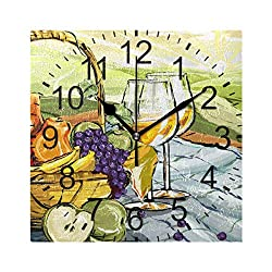 LUCASE LEMON ALEX Artistic Fruit Oil Painting Square Acrylic Wall Clock Non Ticking Silent Clocks for Home Decor Living Room Kitchen Bedroom Office School
