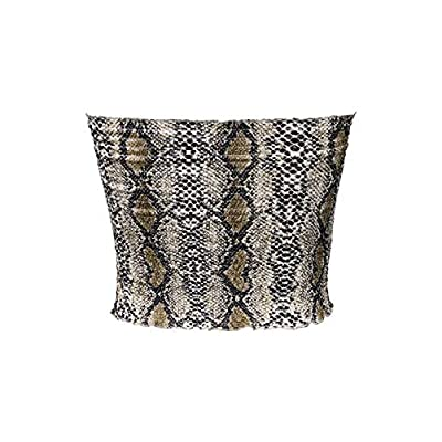 Maijoy Womens Summer Casual Strapless Pleated Print Bandeau Tube Crop Tops at Women's Clothing store