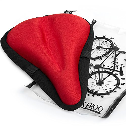 Bikeroo Most Comfortable Bike Seat Cushion Cover - Premium Quality Exercise Bicycle Saddle Pad With Soft Gel for Women and Men Great for Indoor Cycling Class and Stationary Bike -
