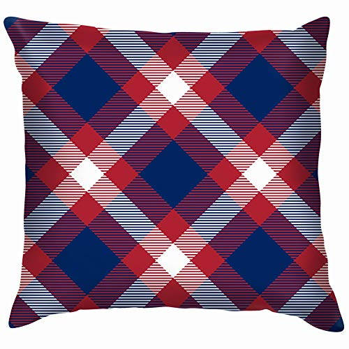 Patriotic Tartan White Blue Red 4Th Beauty Fashion Soft Cotton Linen Cushion Cover Pillowcases Throw Pillow Decor Pillow Case Home Decor 12X12 -