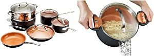 Gotham Steel Pots and Pans 10 Piece Cookware Set with Nonstick Ceramic Coating & Twist and Lock Handles, Nonstick Copper Surface Makes for Effortless Cleanup with Tempered Glass Lid