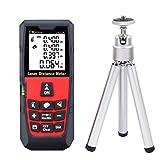 DMiotech Laser Distance Measure 196ft 60m Mini Handheld Digital Laser Distance Meter Rangefinder Measurer Tape Red with Tripod