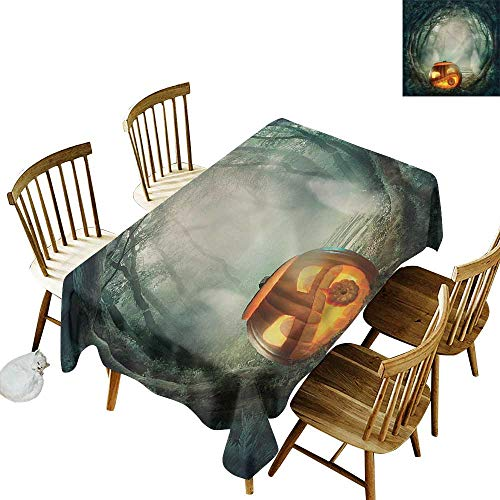 (one1love Spill-Proof Table Cover Halloween Scary Pumpkin Dinner Picnic Table Cloth Home Decoration 60