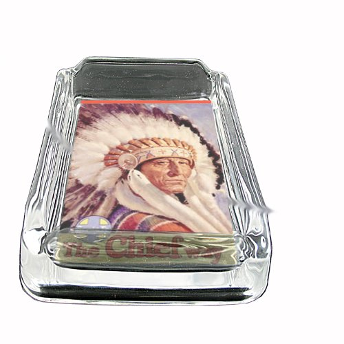 Santa Square Glasses (Train Santa Fe Native American Glass Square Ashtray D-345)