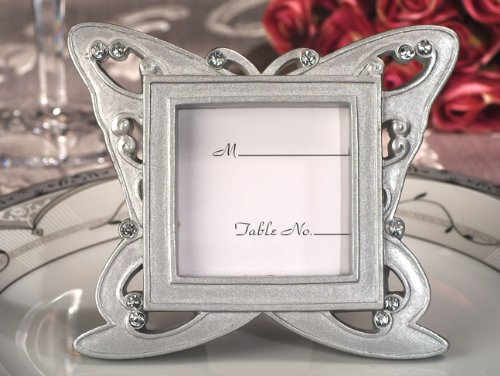 Silver Resin Place Card Frame - Stylish Butterfly Design Silver Place Card Frames - 1 piece