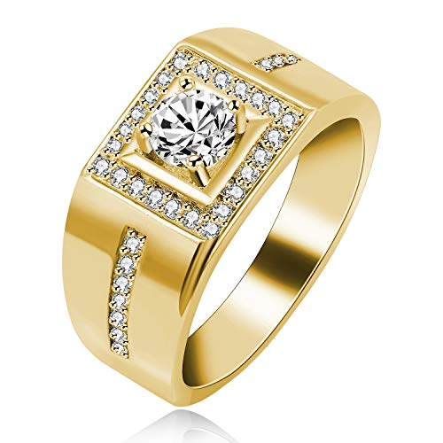 Uloveido Cool Round Brilliant Cut Lab Moissanite Weding Bands Ring for Men - Yellow Gold Plated Wide Band Rings White Cubic Zirconia Stones (Gold, Size 7) KR201 ()