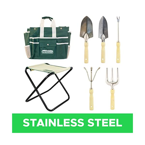 7-Piece-All-In-One-Garden-Tool-Set-with-5-Sturdy-Stainless-Steel-Tools-Heavy-Duty-Folding-Stool-Detachable-Canvas-Tool-Bag