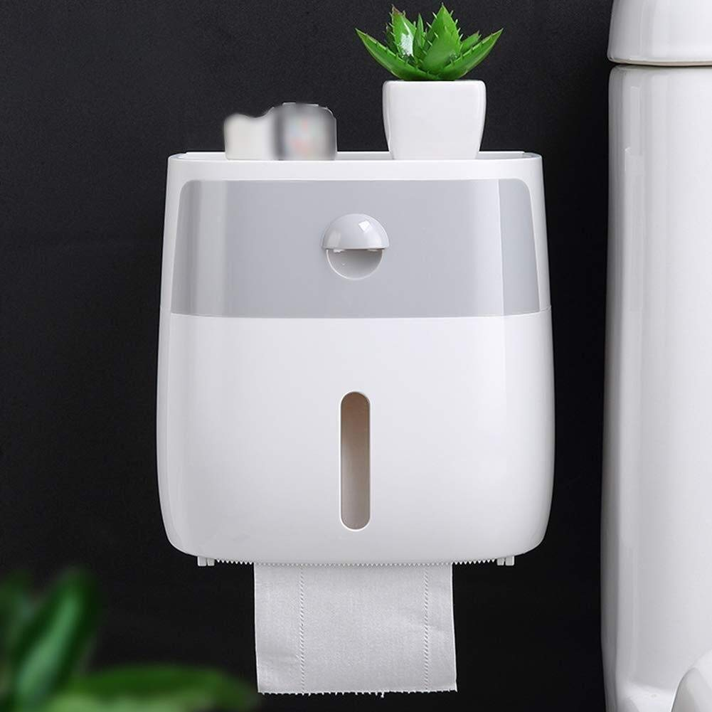 HapHomeSPus Toilet Paper Holder Wall Mounted Self Adhesive Kitchen Paper Holder, Waterproof/Dustproof Paper Roll Holders and Dispenser for Bathroom Storage Organizing Home Office Lavatory Automotive D by HapHomeSPus