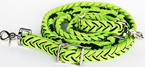 (PRORIDER Horse Roping Nylon Knotted Braided Barrel Reins Tack Western Lime Green 607483)