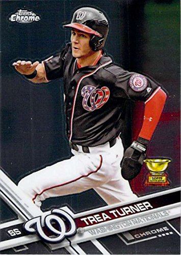 2017 Topps Chrome #194 Trea Turner Washington Nationals Baseball Card - Washington Nationals Card
