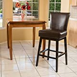 Great Deal Furniture 296075 Madoc Brown Leather Swivel Barstool For Sale
