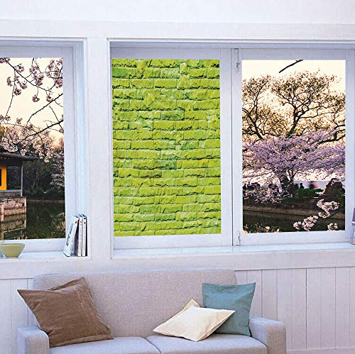 YOLIYANA Privacy Window Film Decorative,Lime Green,for Glass Non-Adhesive,Pastel Wall Vibrant Toned Brick Background Modern Urban,24''x36'' ()