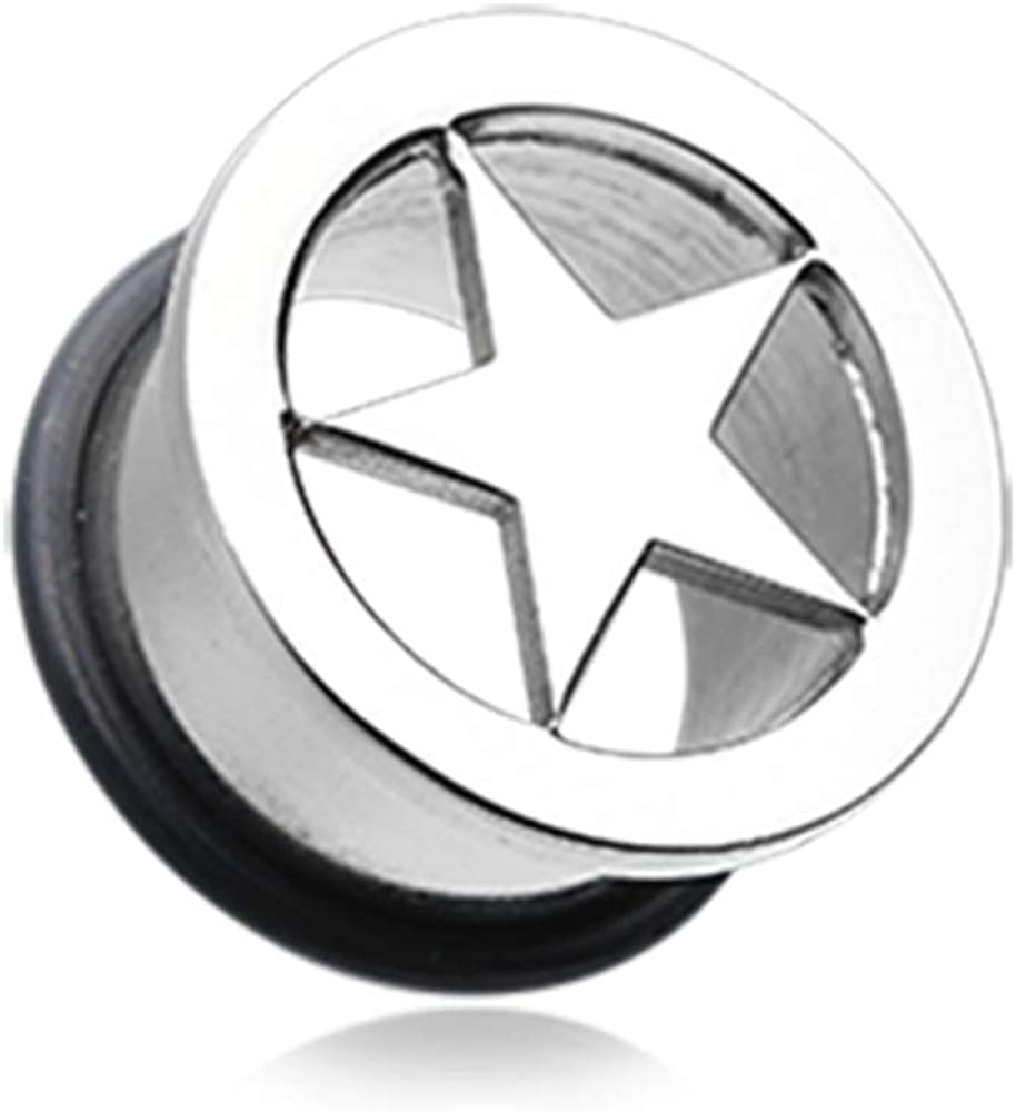 Covet Jewelry Star Steel Single Flared Ear Gauge Hollow Plug