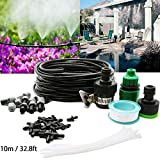 MINCOO 10m/32.8ft Micro Flow Irrigation Kits,Misting Cooling System,Patio Plant Watering System Kit DIY Garden Drip Irrigation System with 10pcs Plastic Mist Nozzle Sprinkler